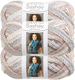 Red Heart (3 Pack Boutique Sashay Metallic & Acrylic Soft Opal White Yarn for Knitting Crocheting Super Bulky #6