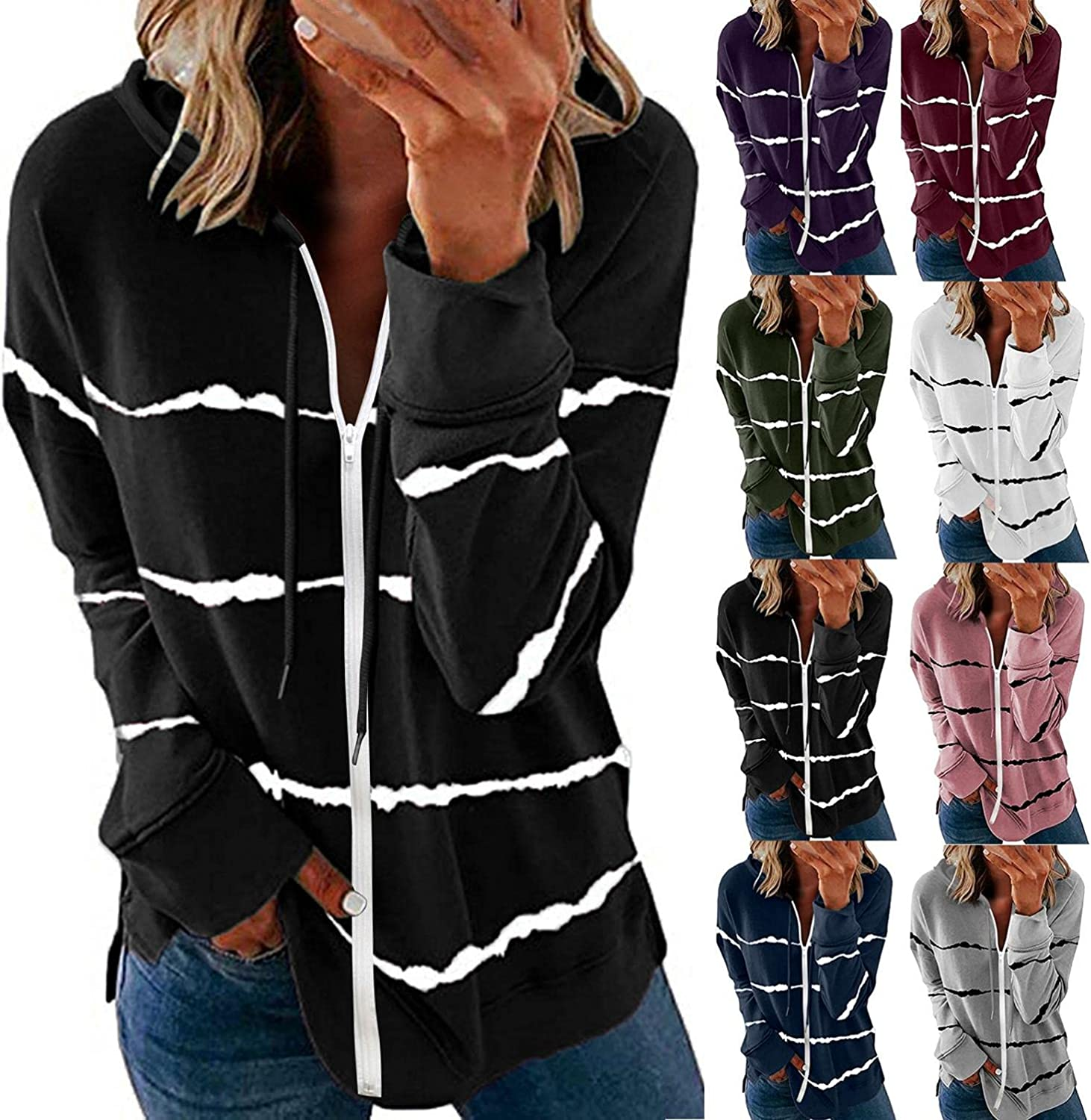 INNOVIERA Hoodies for Women,Women's Tops Printed Sweatshirt Long Sleeve Pullover Casual Loose Hooded Tunic Shirts