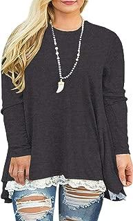 USUASID Womens Plus Size XL-4XL Lace Long Sleeve A-Line Flowy Tunics Top Blouse Shirt