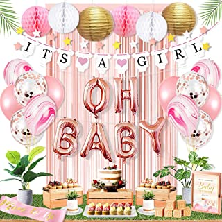Ola Memoirs Premium Baby Shower Decorations for Girl Party Kit- It's A Girl Banner, Baby Pink Fringe Backdrop, Rose Gold OH BABY Foil Balloons, Pink and White Honeycomb Balls, Lanterns, Latex Balloons