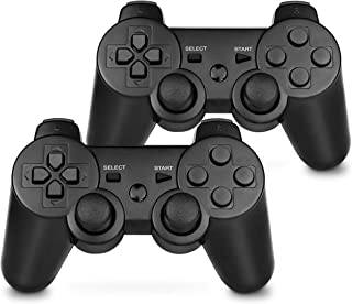 PS3 Controller Wireless Double Shock Gamepad for Playstation 3, Six-Axis Wireless PS3 Controller with Charging Cable (2 Pack)