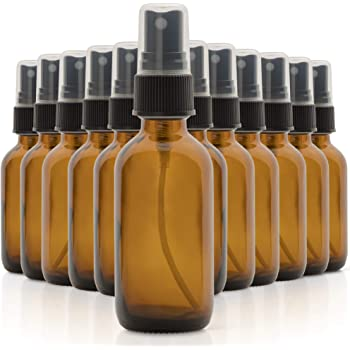 1790 Amber Glass Essential Oil Bottles, 2 oz Small Glass Bottles, Glass Bottles for Essential Oils- BPA Free - Toxin Free - Mini Spray Bottle (12 Value Pack)