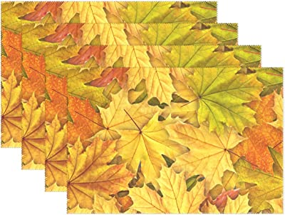 Amazon Com 25 Count Maple Leaf Shaped Paper Placemats Fall Thanksgiving Place Mats Kitchen Dining