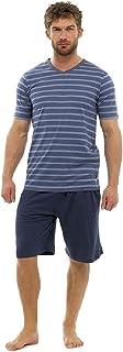Mens Cotton Jersey Short Sleeve Striped Top and Shorts Pyjama Set Longue Cotton Rich Stripe Crew Neck Tshirt Boys Plain Sh...