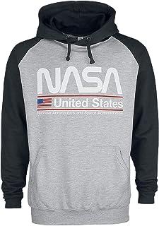Nasa Baseball Hoodie United States Logo Official Mens Dark Grey Pullover S