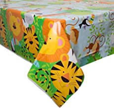 Unique Party 52083 - Animal Jungle Party Plastic Tablecloth, 7ft x 4.5ft