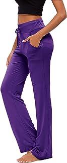 Pantalones De Yoga para Mujer con Bolsillos Cordón De Pierna Ancha Salón Recto Suelto Pantalones De Entrenamiento De Entre...