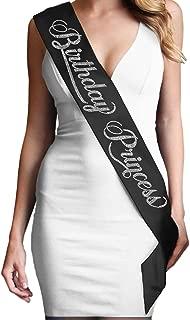 Birthday Princess Rhinestone Birthday Sash - Birthday Party Supplies & Decorations - Black Sash(BdyPrnc RS) Blk
