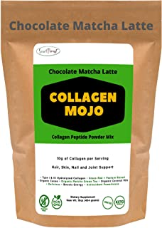 Collagen Peptides Powder – Chocolate Matcha Latte - with Organic Cacao and Matcha Green Tea. Keto & Low Carb Coffee Creame...