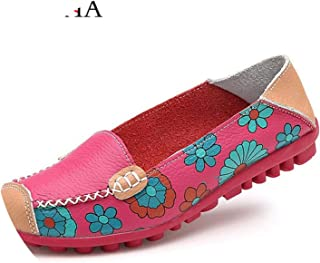 Women Flat Shoes 2019 New on et Flower Print Genuine Leather Loafers ies Flats Shoes Women