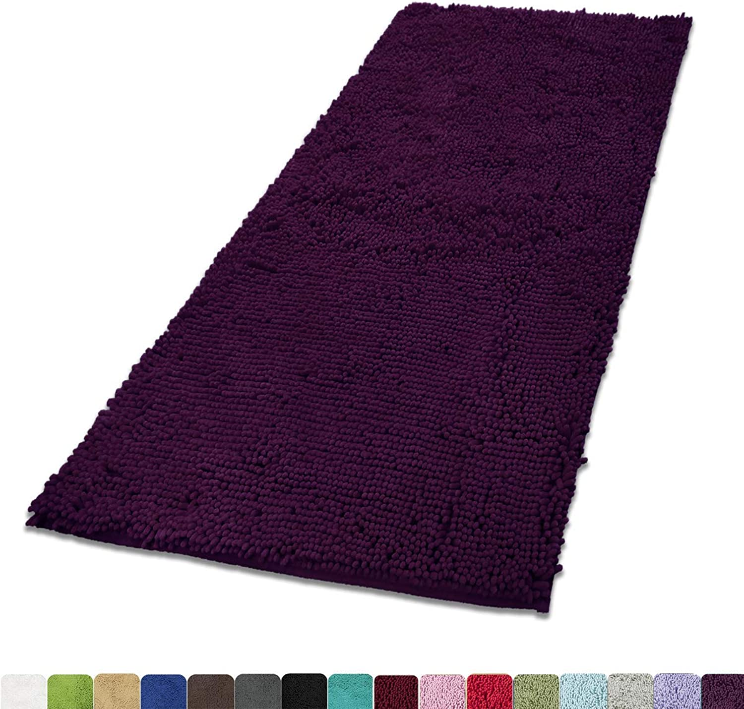 MAYSHINE Absorbent Microfiber Chenille Door mat Runner for Front Inside Floor Doormats, Quick Drying, Washable-31x59 inch Plum