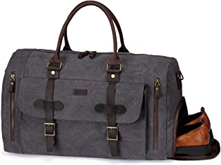 Canvas Duffle Bag,Vaschy Men Leather Large Duffel Tote with Shoe Compartment Large 46L Weekend Carry-on Holdall Baggage Sports Travel Bag with Detachable Shoulder Strap Gray