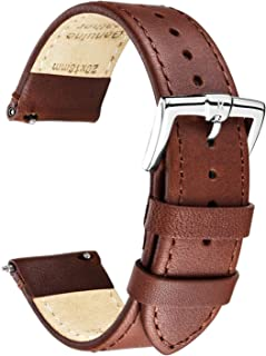 B&E Quick Release Watch Bands Strap Top Smooth Genuine Leather for Men & Women - Lite Vintage Style Wristbands for Traditional & Smart Watch - 16mm 18mm 20mm 22mm 24mm Width Available