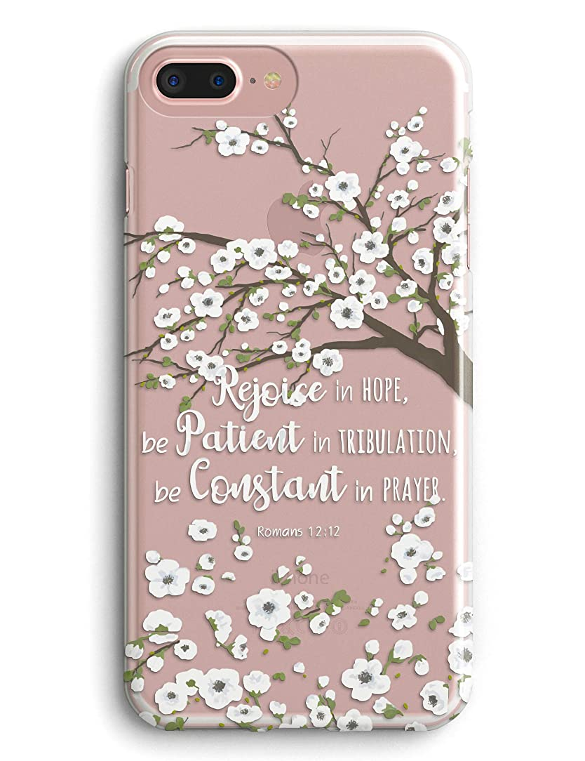 iPhone 7 Case,iPhone 8 Case,TRFAEE Noble White Flowers Blossoms Christian Bible Verse Romans 12:12 Clear Soft Anti Scratch Shockproof Protective Case Cover for iPhone 7/8