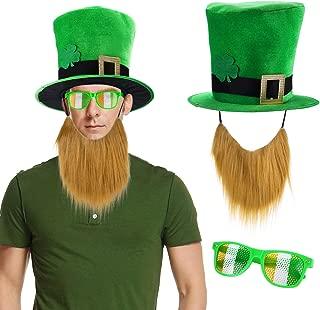 Konsait St. Patricks Day Parade Mens and Womens Costume Accessories Set, Green Leprechaun Top Shamrock Hat and Beard, Glasses, Lucky Charm Costume, Irish Party Supplies …