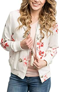 ChainJoy Women Floral Print Zipper Jacket Classic Long Sleeve Fall Short Bomber Jacket Coat