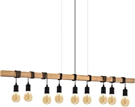 EGLO hanglamp Townshend, 9-pits vintage hanglamp in industrieel design, retro hanglamp gemaakt van staal en hout, kleur: z...