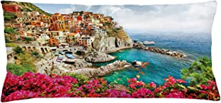 "Ambesonne Italy Throw Pillow Cushion Cover, Monarola Antique Village in Cinque Terre Coastal Panorama Summer Beach Scenic View, Decorative Rectangle Accent Pillow Case, 36"" X 16"", Multicolor"