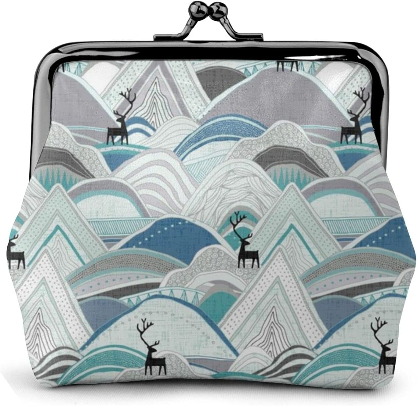Caribou Mountains Blue 1404 Coin Purse Retro Money Pouch with Kiss-lock Buckle Small Wallet for Women and Girls