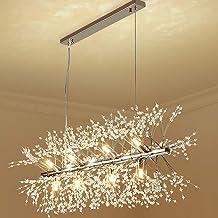Ganeed Firework Chandeliers,Modern LED Crystal Pendant Lights,9-Light Stainless Steel Chandelier Lighting,Hanging Ceiling ...