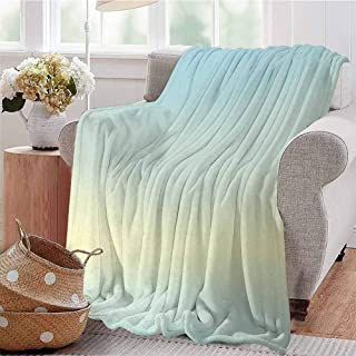 SSKJTC Warm Microfiber Blanket Defocused Abstract Design in Center Blurred Color Sky Blue Like Decorating Artwork Baby Blue Couch Bed Napping Reading Recliner W54 xL84