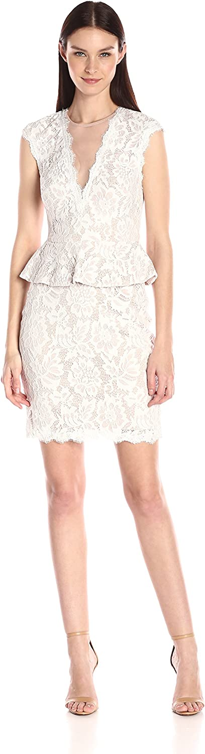 Betsy & Adam Womens Peplum All Over Lace with Open Back Short Dress