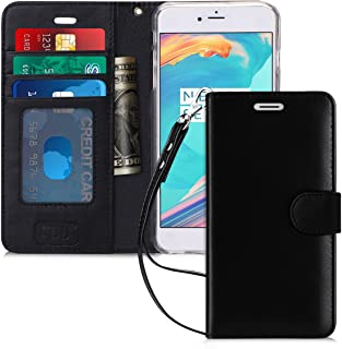 FYY Case for iPhone 8 Plus/iPhone 7 Plus,[Kickstand Feature] Luxury Genuine Leather Wallet Case Flip Folio Cover with [Card Slots][Wrist Strap] for Apple iPhone 8 Plus 2017/7 Plus 2016 (5.5