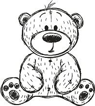 Divine Designs Black and White Pen Sketch Stuffed Teddy Bear Vinyl Decal Sticker (4