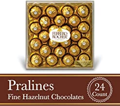 Ferrero Rocher Fine Hazelnut Milk Chocolate, 24 Count, Chocolate Candy Gift Box