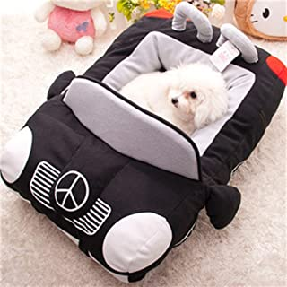 Colorful House INN Design-New Deluxe Cute Cozy Black Car Pet Beds Cover for Small-Medium Dog 27.6