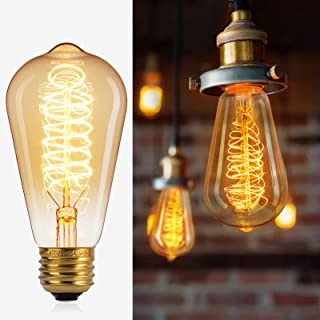 Brightown 6 Pack Edison Light Bulbs Vintage 60 Watt Incandescent Light Bulb S19 E26 E27 Base Dimmable Decorative Antique Filament Lamp Bulbs for Indoor Wall Hanging Ceiling Light Fixtures Amber Warm