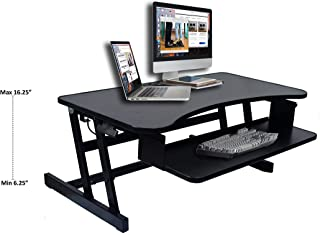 """Rocelco 37"""" Height Adjustable Standing Desk Converter   Sit Stand Up Desk Riser Computer Workstation   Dual Monitor Retractable Keyboard Tray Gas Spring Assist   Black (R DADRB)"""