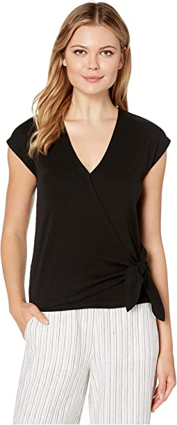 Flame 1x1 Rib Faux Wrap Top