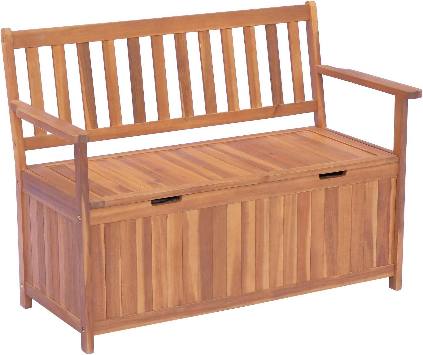 Outsunny Gartenbank Truhenbank Sitzbank mit Stauraum 20 Sitzer Holz Braun  B200 x T20 x H20cm