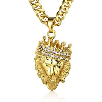 Halukakah ● Kings Landing ● Hombres 18K Oro Verdadero Plateado Le/ón Corona Colgante Collar con Cadena Cola de Tibur/ón Gratis 30