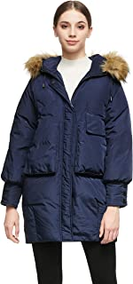 Women Warm Down Jacket with Hood Faux Fur Unique Sleeve Cuff Coat