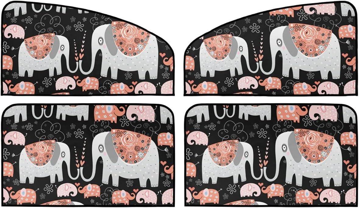 4 Piece Set Magnetic Car Roller Sum Ornamental Shade Max 80% OFF Elephants Alternative dealer -