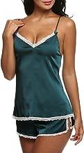 Ekouaer Sleepwear Satin Cami Set Sexy Nighties Silk Lingerie Short Pajamas Sets Plus Size for Women XS-XXL