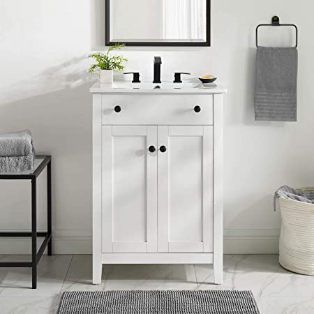 Luca Kitchen Bath Lc24hwp Carson 24 Bathroom Vanity Set In White With Integrated Porcelain Top