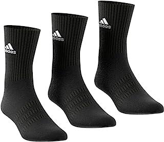 Adidas Men's CUSH CRW 3PP Socks,black/Black/White, KXXL