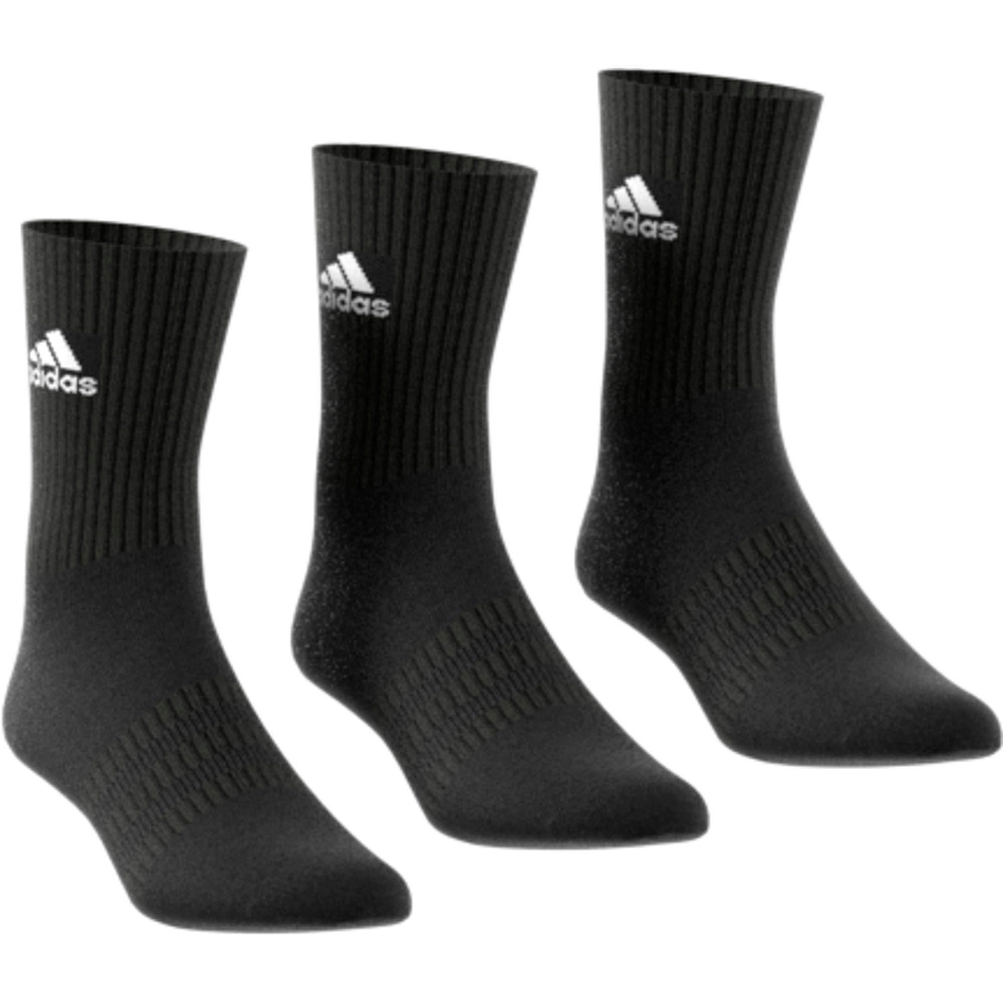 adidas CUSH CRW 3PP Socks, Black/Black/White, KXL