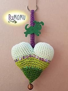Llavero CORAZÓN Crochet- Verde-Mascota