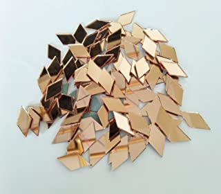 RUIXUAN Diamond Shape Mosaic Tiles Mirror Glass Home Decoration Crafts DIY Accessory (1/2x1inch Rose Gold)