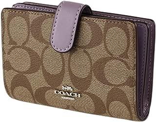 Coach Medium Corner Zip Wallet Signature PVC Khaki Lilac F23553