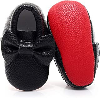 red bottom baby moccasins