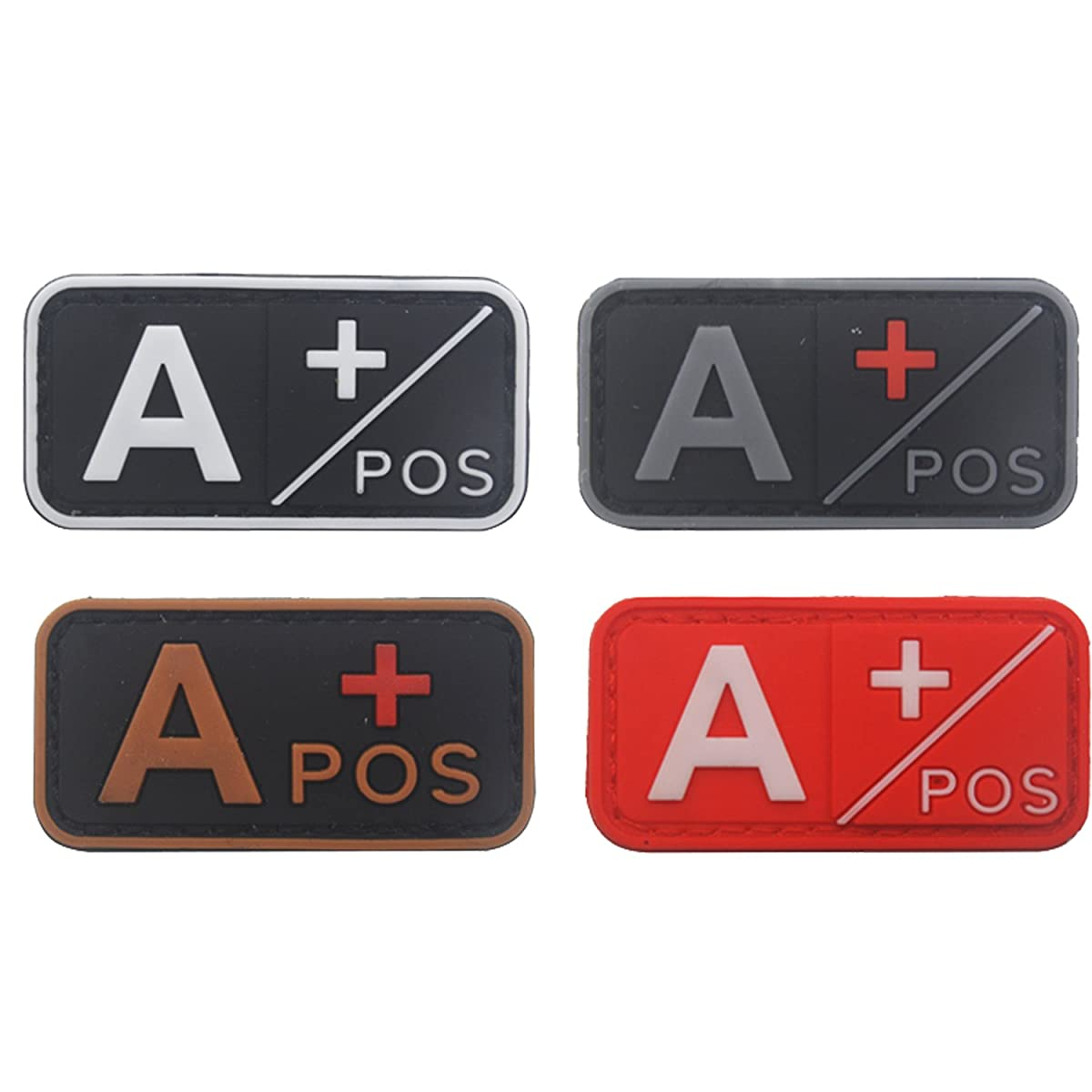Blood Type Patch Kit A Pos, Tactical Type A Positive 3D PVC Rubber Fastener Patches, 1.97 X 0.98 Inch Sized, Bundle 4 Pieces