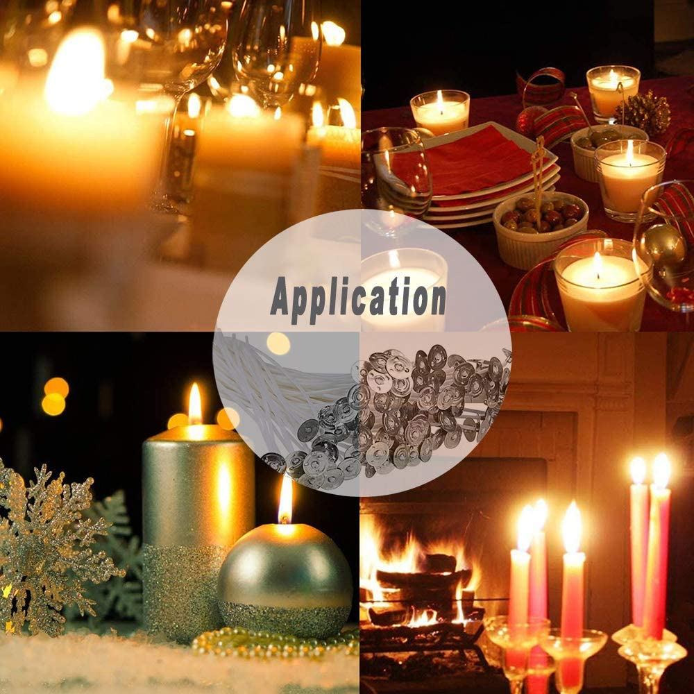 /… 100 Pieces Candle Wicks DIY Candle Craft Tools Double-Sided Dots Wick Stickers and Stainless Wick Fixed Holderfor Candle Making 8 Inch 20 cm