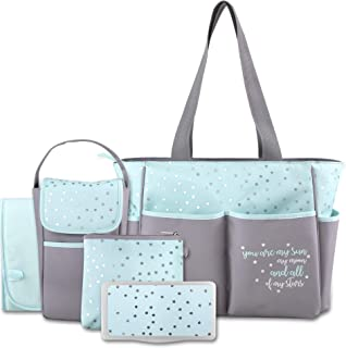 Diaper Bag Tote 5 Piece Set with Sun, Moon, and Stars, Wipes Pocket, Dirty Diaper Pouch, Changing Pad (Grey/Aqua)
