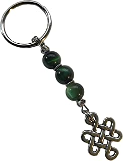 Green Tiger Eye Stone Pewter Infinity Eternity Knot Keychain
