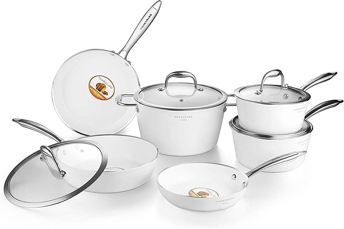 Pots And Pans Set AMERICOOK 10pc White Cookware Set Ceramic Nonstick Pots And Pans With Glass Lids And Stay Cool Stainless Steel Handles Includes Nonstick Frying Pans Sauce Pans And Saute Pan